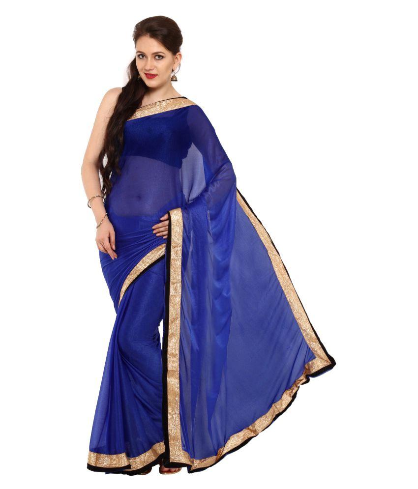 Satrang Blue Synthetic Saree