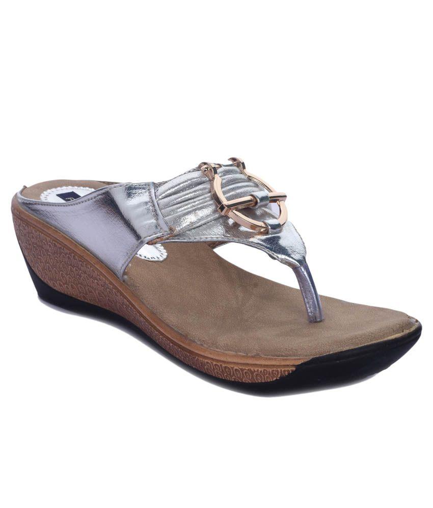 Funku Fashion Silver Wedges Heels