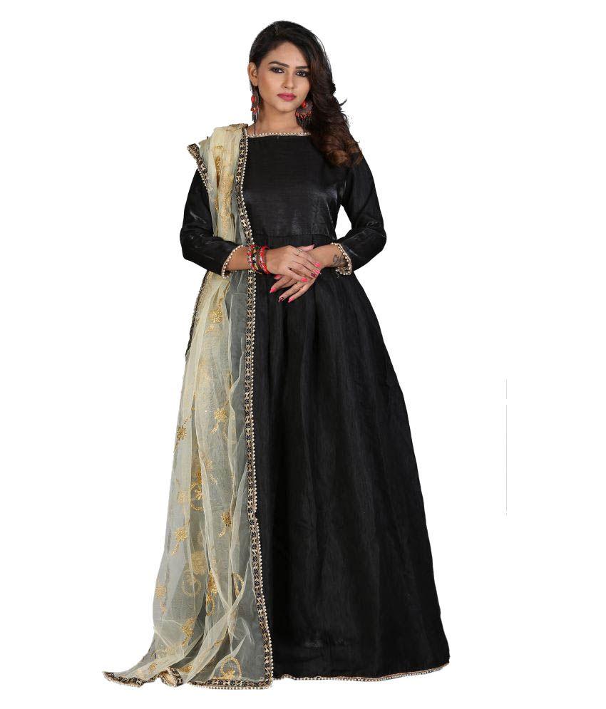 4ca7977ce Greenvilla Designs Grey and Black Silk Anarkali Gown Semi-Stitched Suit -  Buy Greenvilla Designs Grey and Black Silk Anarkali Gown Semi-Stitched Suit  Online ...