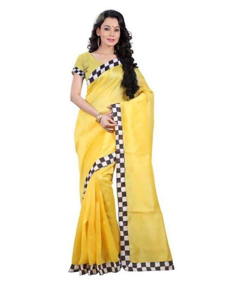 Nirali Sarees Yellow Bhagalpuri Cotton Saree
