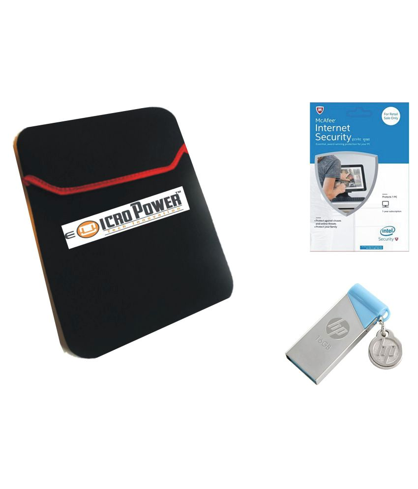 E Micro Black Laptop Sleeves with McAfee Internet Security Antivirus (1 PC/1 Year) and HP Pendrive 16 GB