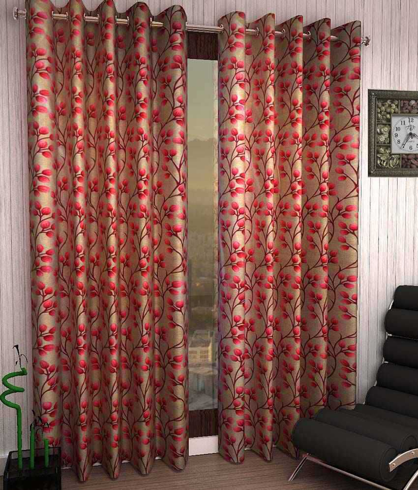 Homefab India Set of 2 Window Eyelet Curtains Floral Red
