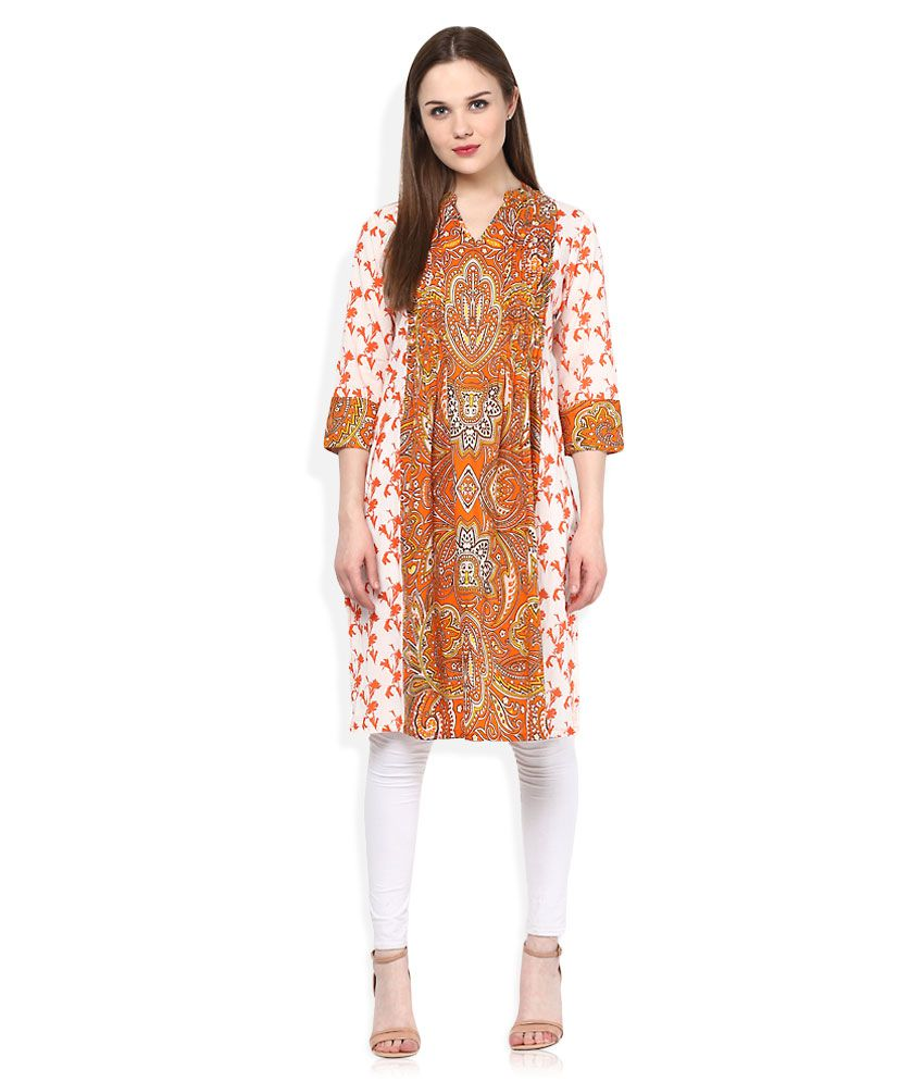 Rain & Rainbow Orange Cotton Kurti