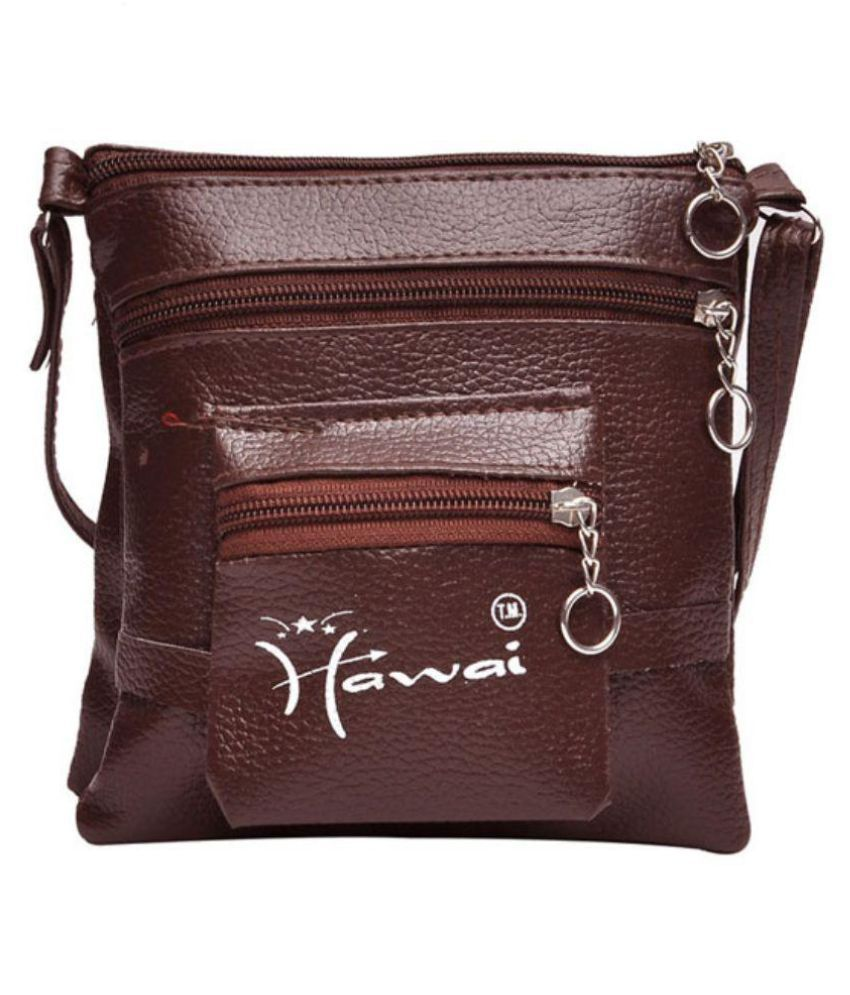 Hawai Brown Faux Leather Sling Bag