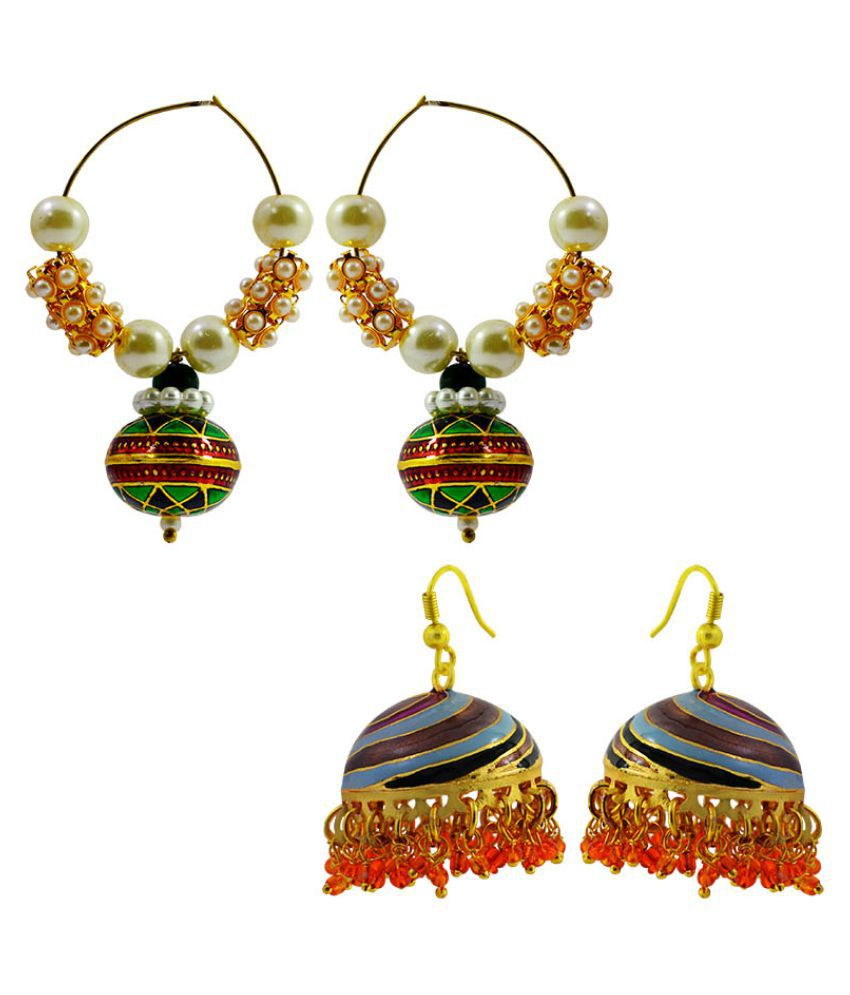 MK Jewellers Multicolour Combo Earrings - Pack of 2