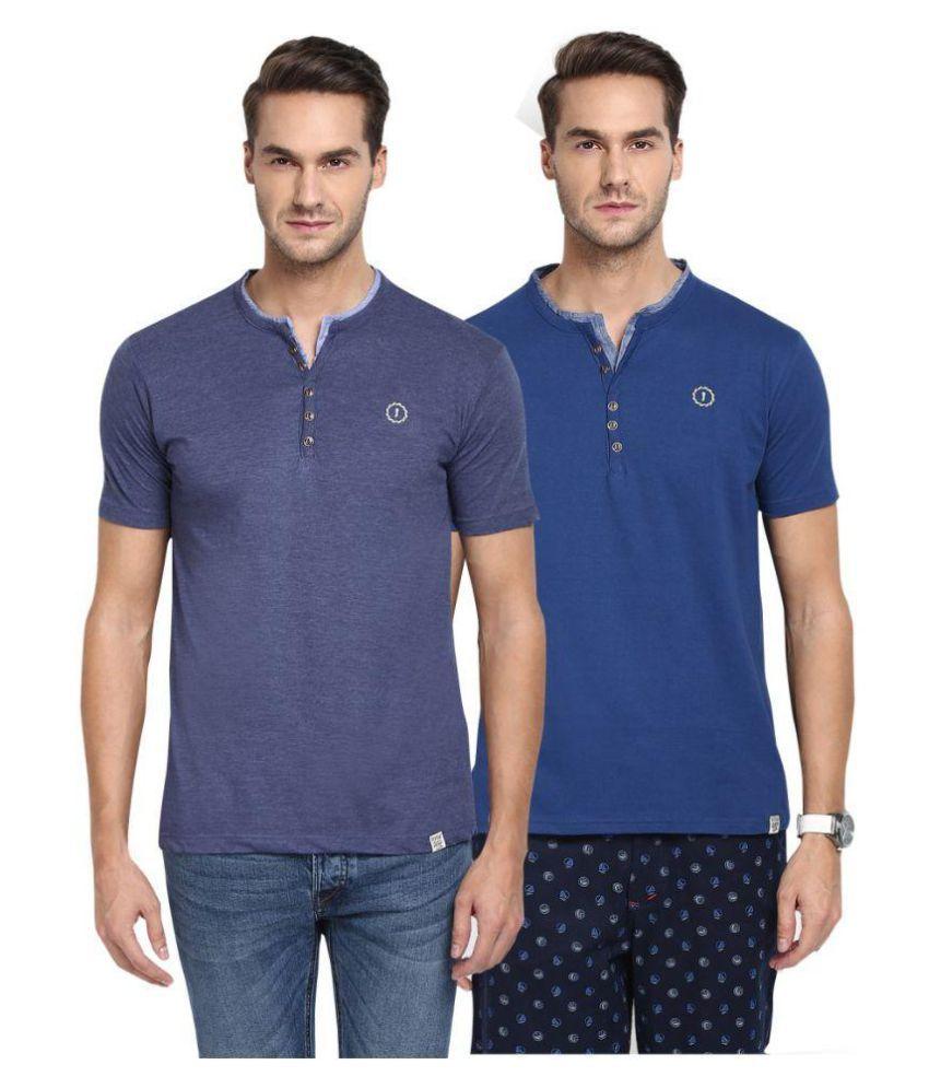 Joven Blue Henley T-Shirt Pack of 2
