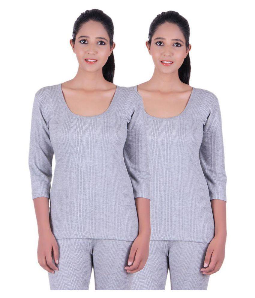 Zimfit Gray Cotton Blend Topwear