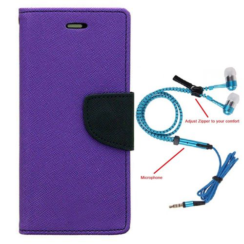 Aart Wallet Flip Case Back Cover For micromax A116-(Purple) + Zipper Hands free for all Mobiles By Aart store
