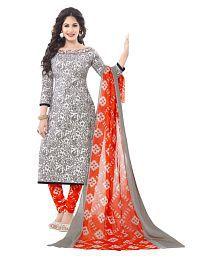 Salwar Studio Grey Cotton Dress Material