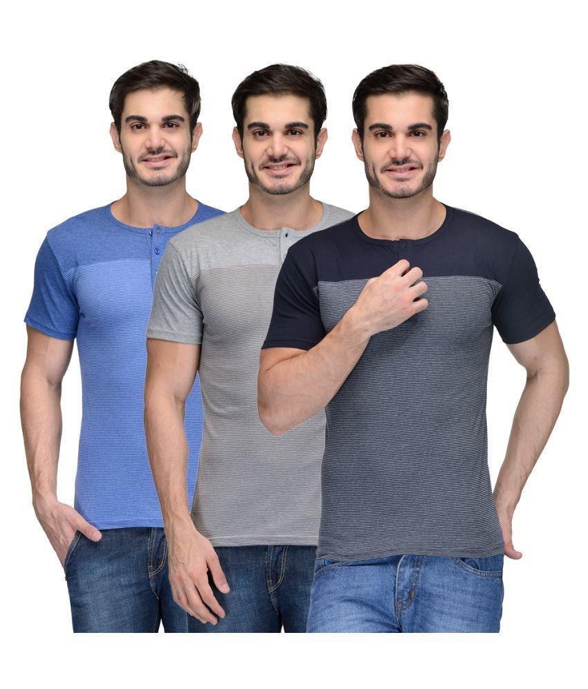 Teesort Multi Henley T-Shirt Pack of 3