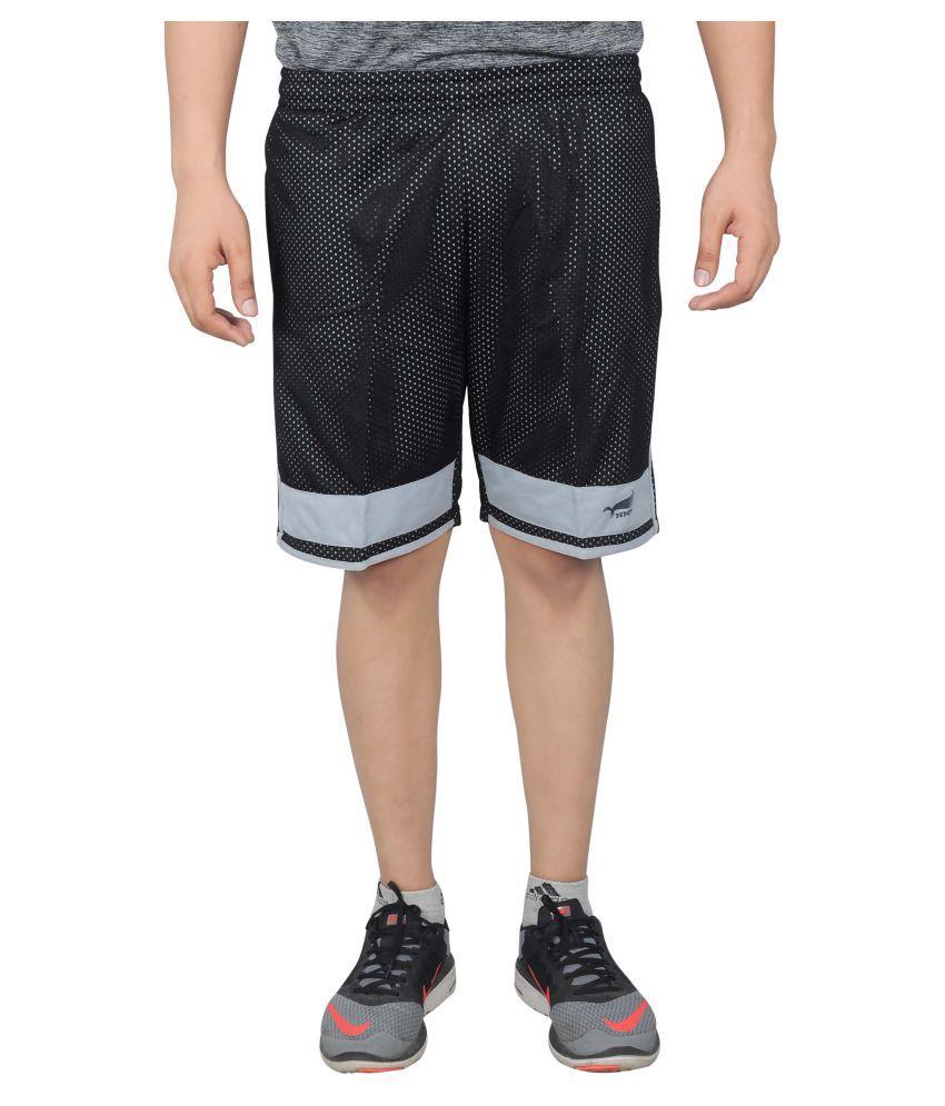 NNN Black Polyester Shorts for Men