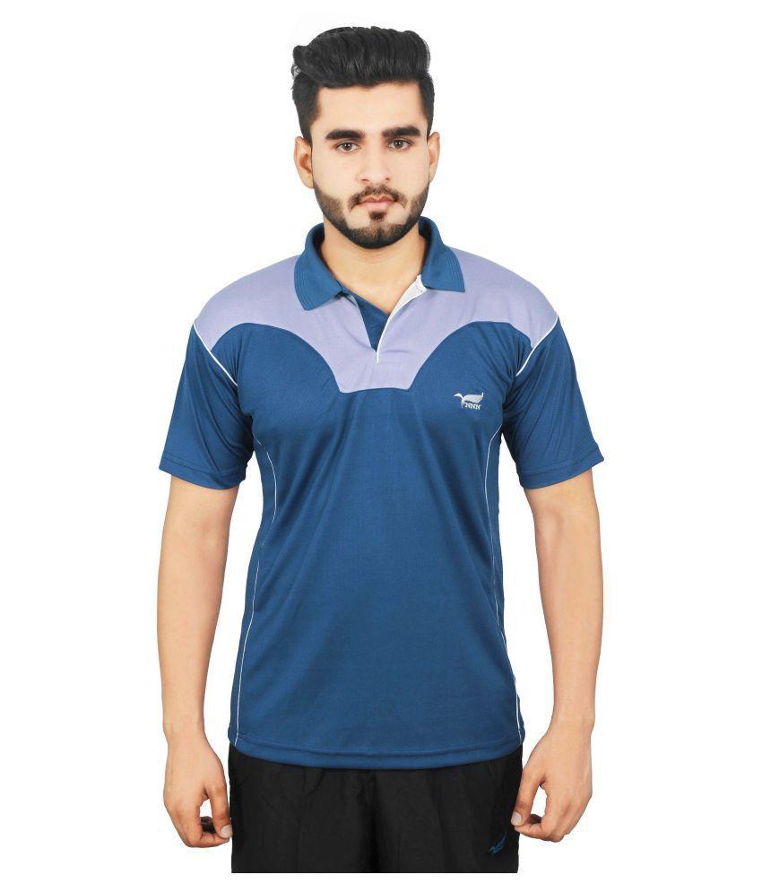 NNN Blue Polyester Polo T-Shirt for Men
