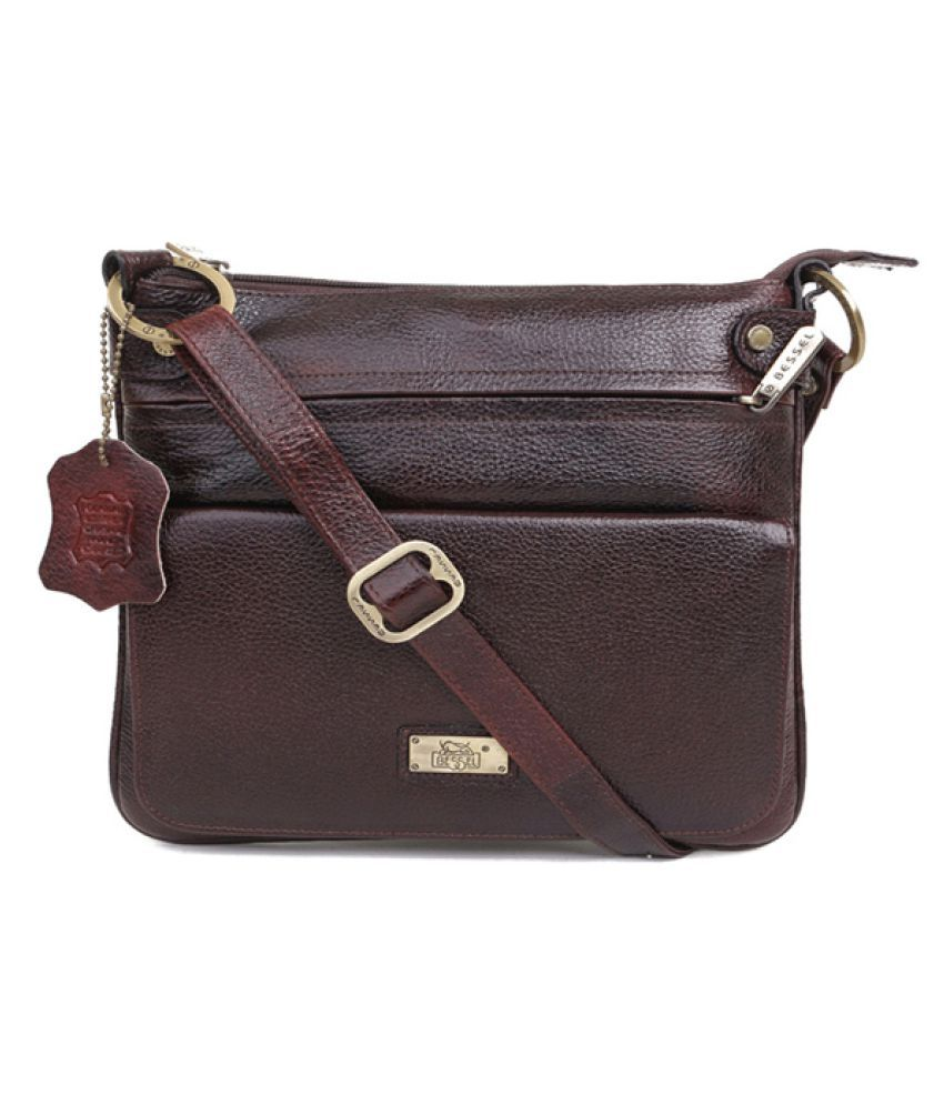 Bessel Brown Pure Leather Sling Bag - Buy Bessel Brown Pure ...