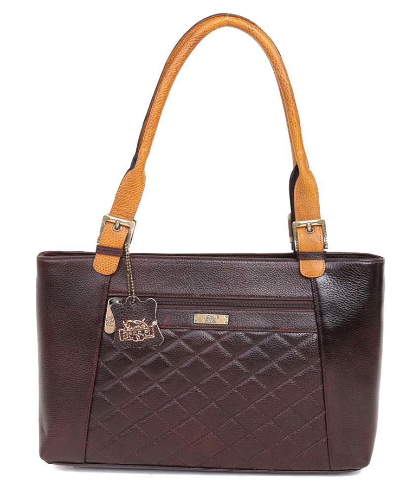 Bessel Brown Pure Leather Shoulder Bag