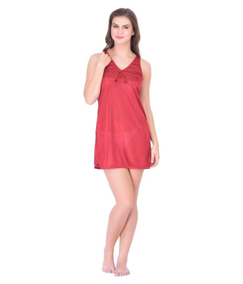 Claura Maroon Satin Nighty & Night Gowns
