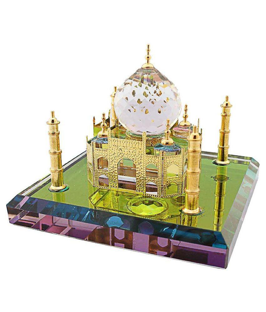 Wow Lady Crystal Golden Taj Mahal Showpiece