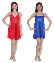 Ansh Fashion Wear Multi Color Poly Satin Night Shorts - 682334308945
