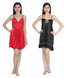 Ansh Fashion Wear Multi Color Poly Satin Night Shorts - 682181334057