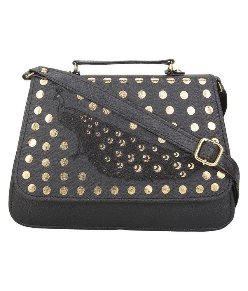 Bellina Black P.U. Satchel Bag