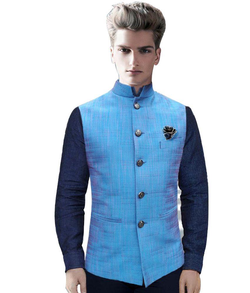 Studio Bespoke Blue Silk Nehru Jacket - Buy Studio Bespoke Blue Silk ...