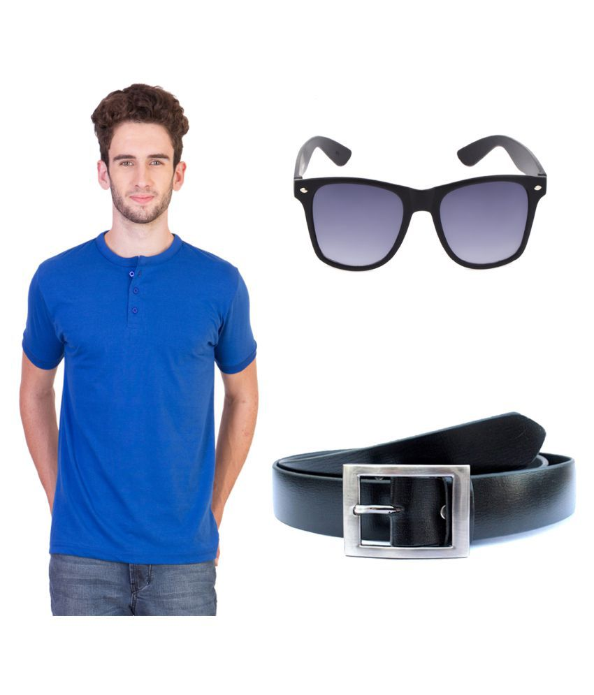Keepsake Blue Henley T-Shirt with Belt and Sunglasses