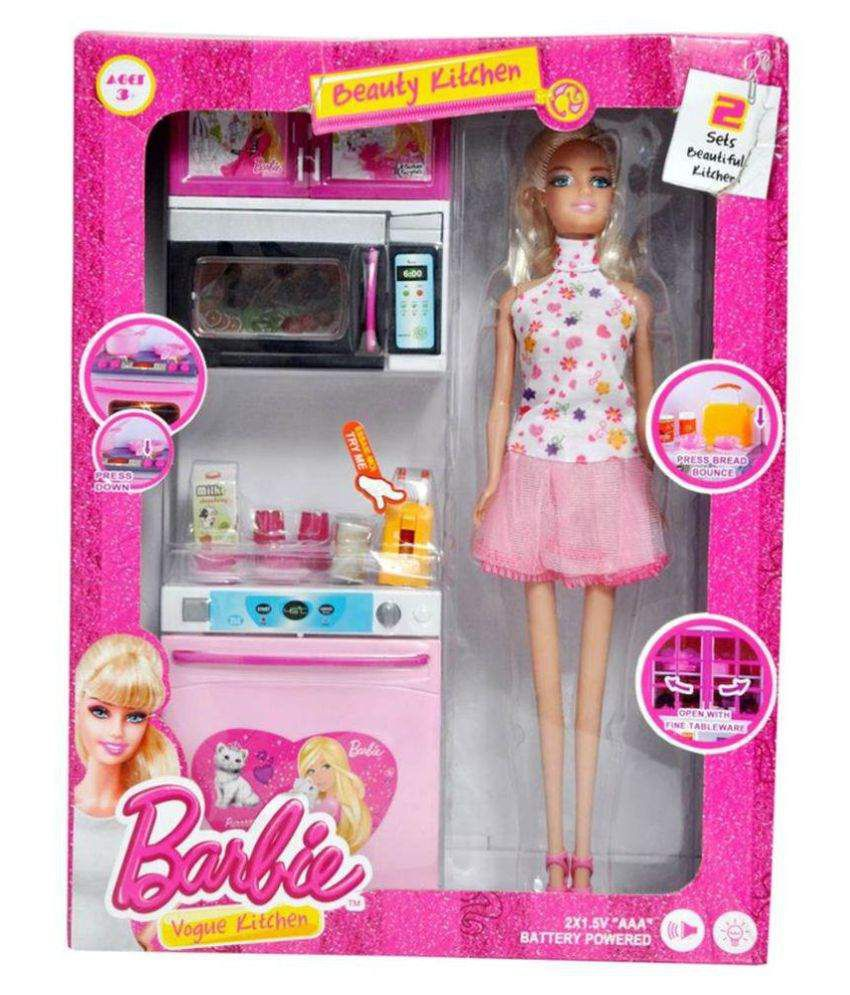 Real Deal Pink Barbie Kitchen Set With Doll Buy Real Deal Pink Barbie Kitchen Set With Doll Online At Low Price Snapdeal