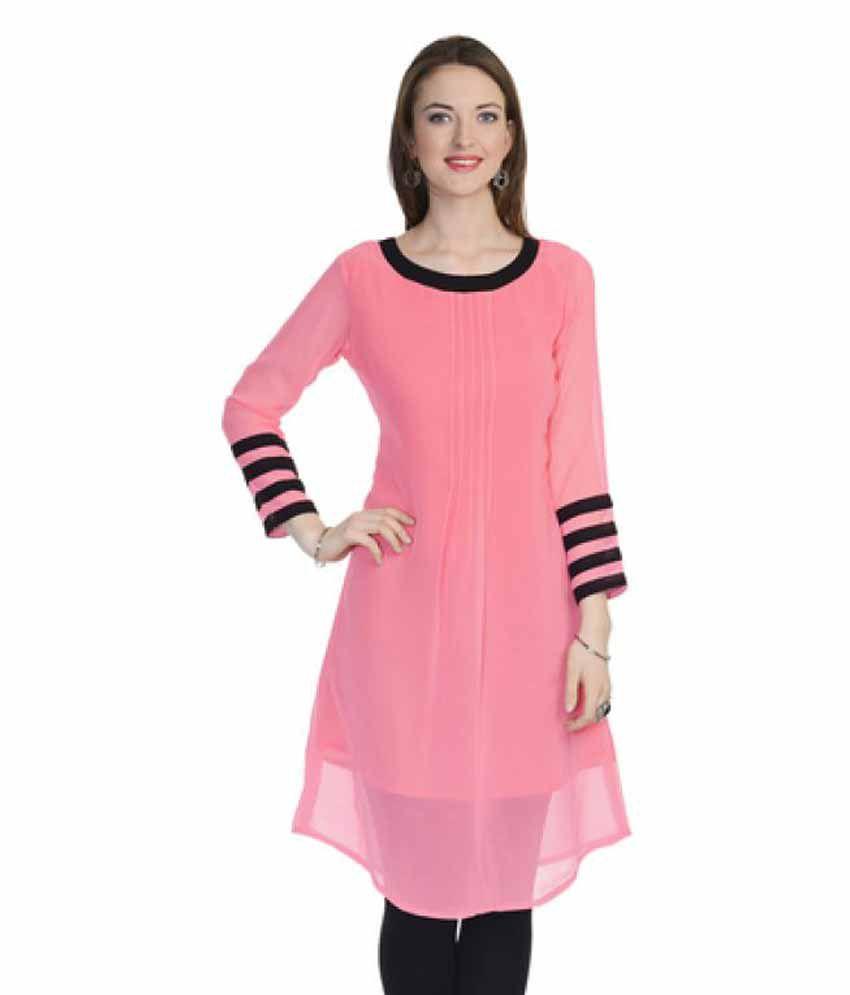 Fabviva Pink Georgette A-line Kurti