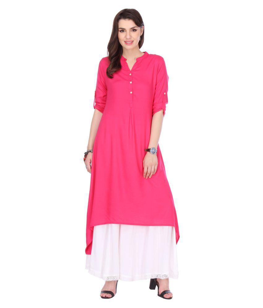 Riti Riwaz Pink Rayon Asymmetrical Hemline Kurti