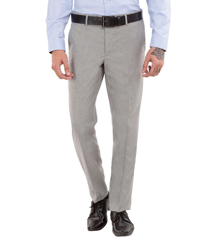Black Coffee Grey Regular Fit Trousers