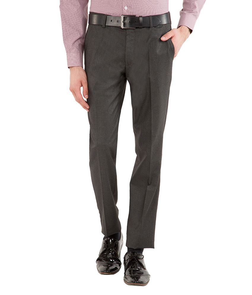 Black Coffee Grey Slim Fit Trousers