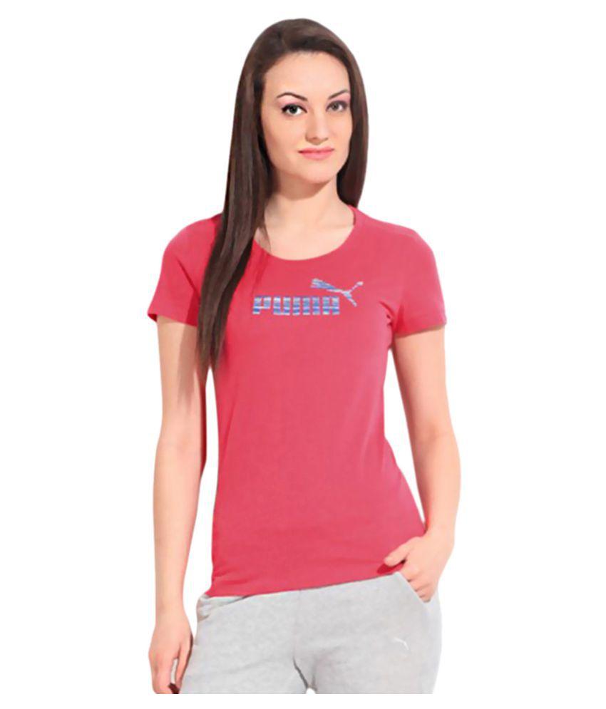 Puma Pink Cotton T-Shirt