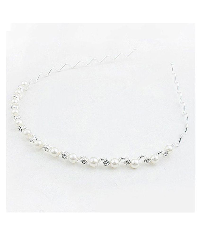 Fasherati Silver Pearl Hair Band