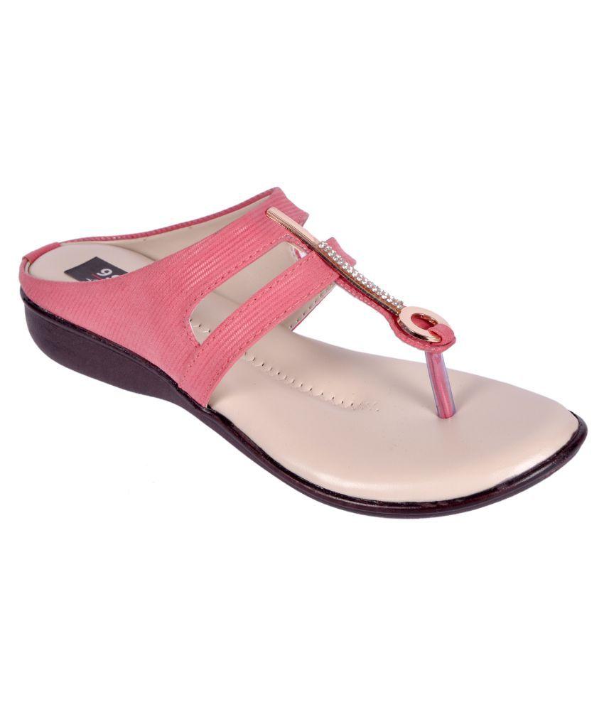 9Space Pink Wedges Heels