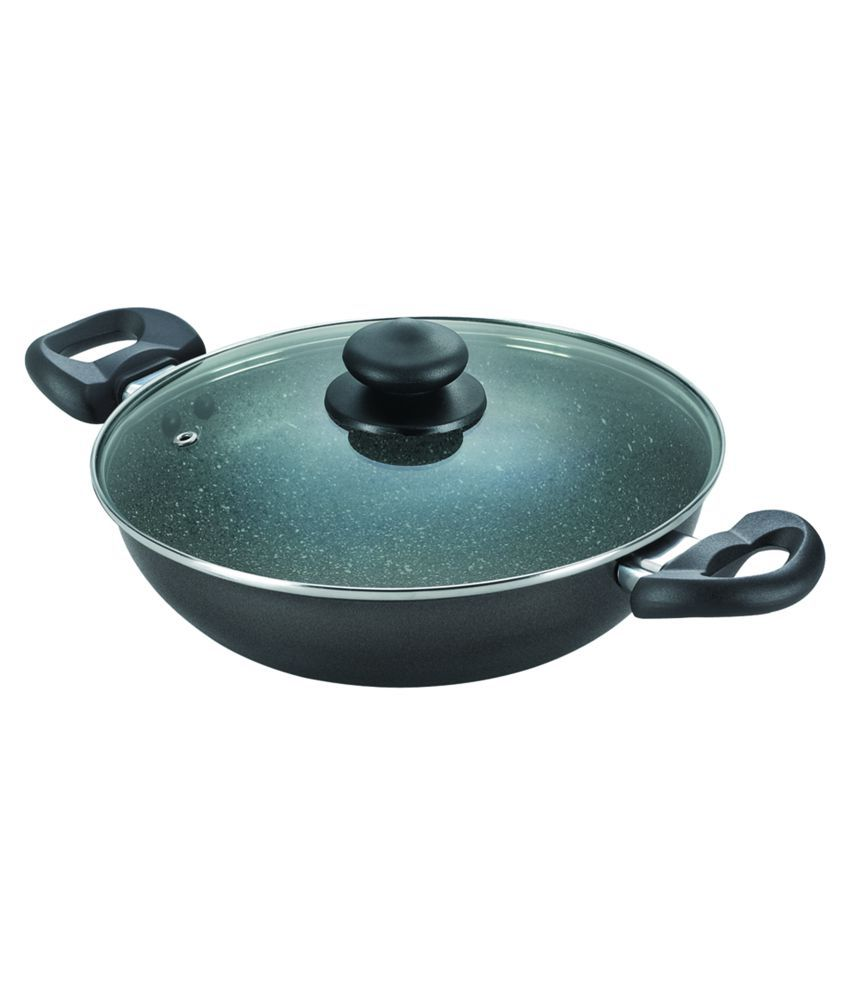 Prestige 24 cm Non-Stick Kadai with Lid - Black: Buy Online at Best ...