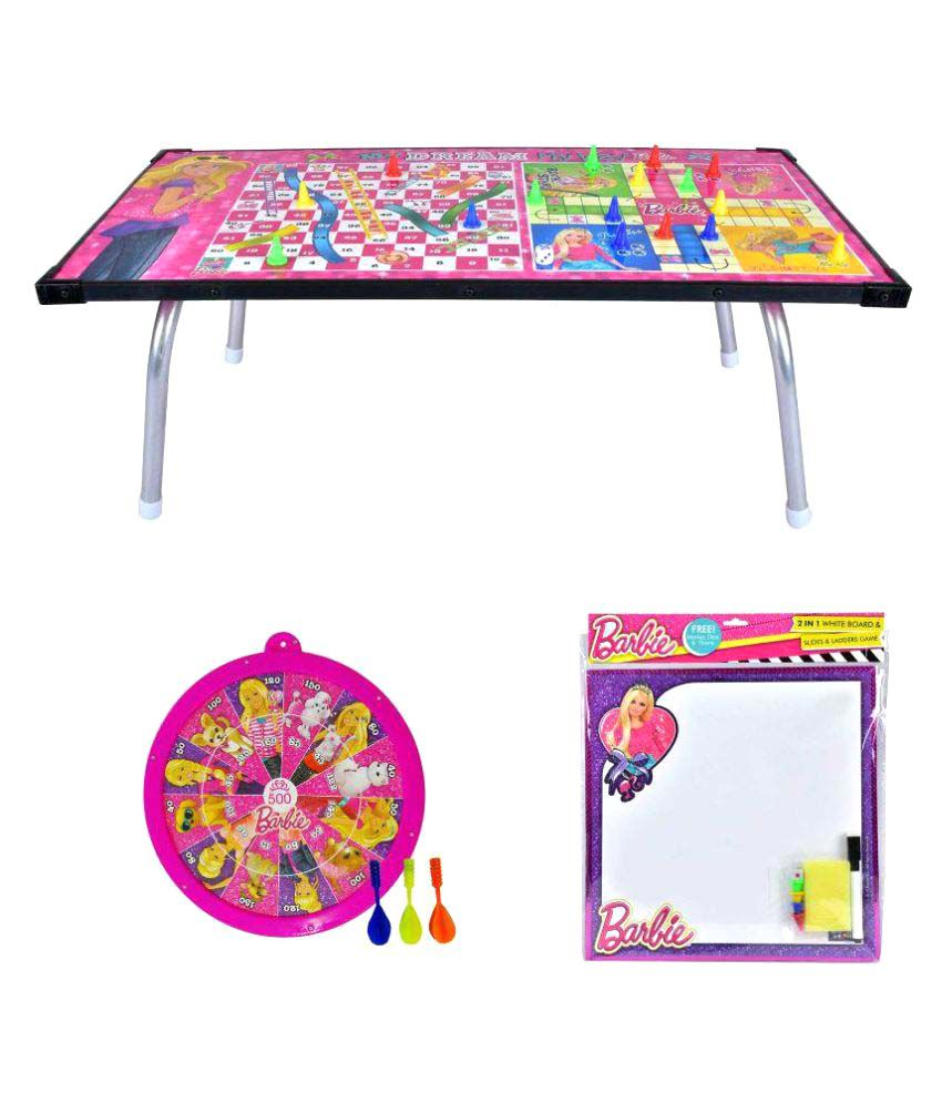Barbie Multipurpose Gaming Table with Metallic Dart Game and 2 in 1 Writing Board