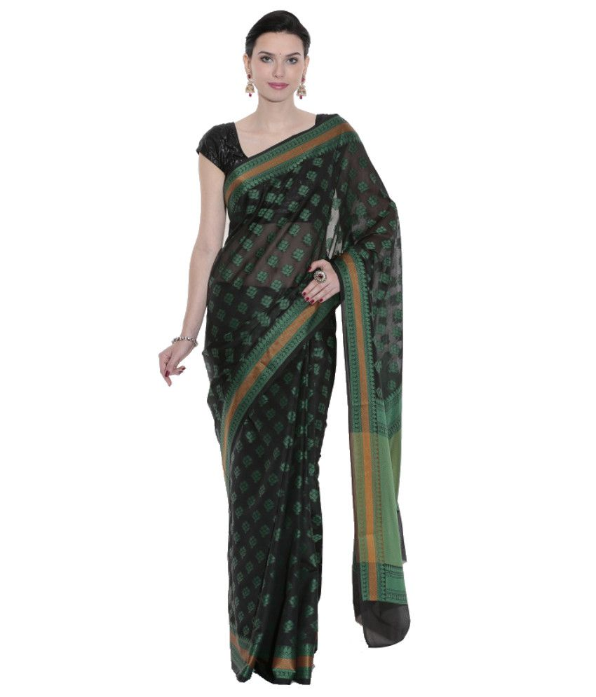 Kataan Bazaar Black Art Silk Saree