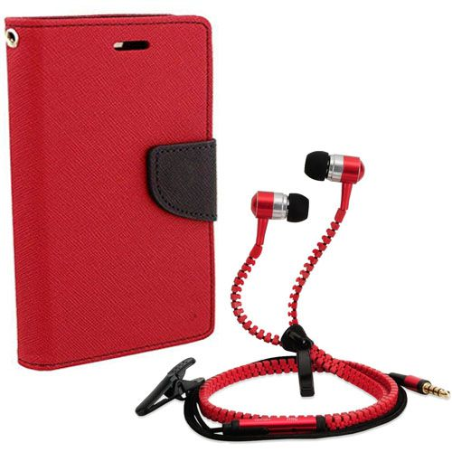 Aart Wallet Flip Case Back Cover For Sony Xperia T2 Ultra-(Red) + Zipper Hands free for all Mobiles By Aart store