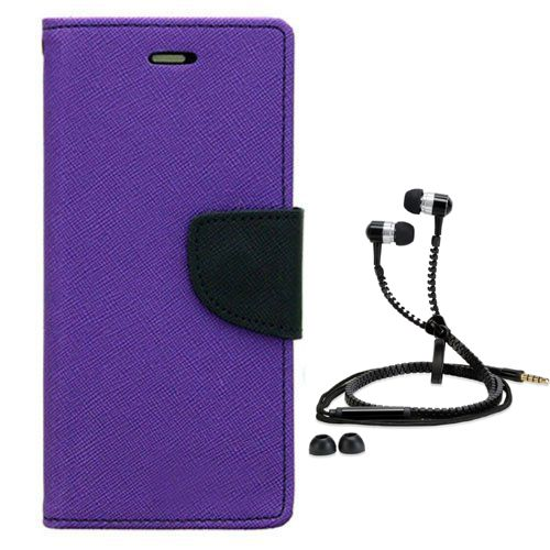 Aart Wallet Flip Case Back Cover For Lenovo A7000-(Purple) + Zipper Hands free for all Mobiles By Aart store