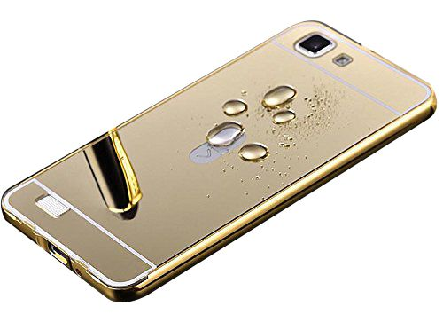 Aart Luxury Metal Bumper + Acrylic Mirror Back Cover Case For SamsungS6Edge  Gold + Flexible Portable Thumb OK Stand