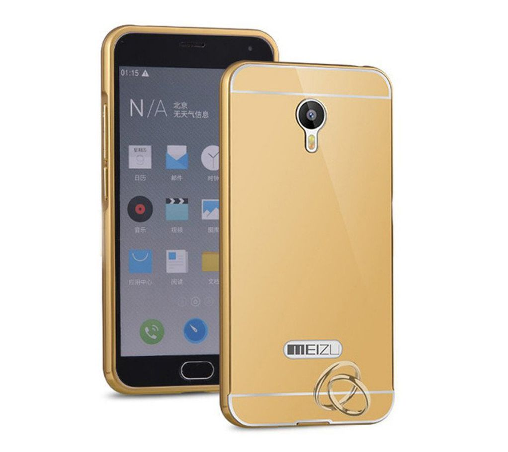 Aart Luxury Metal Bumper + Acrylic Mirror Back Cover Case For meizummeizum2  Gold + Flexible Portable Thumb OK Stand
