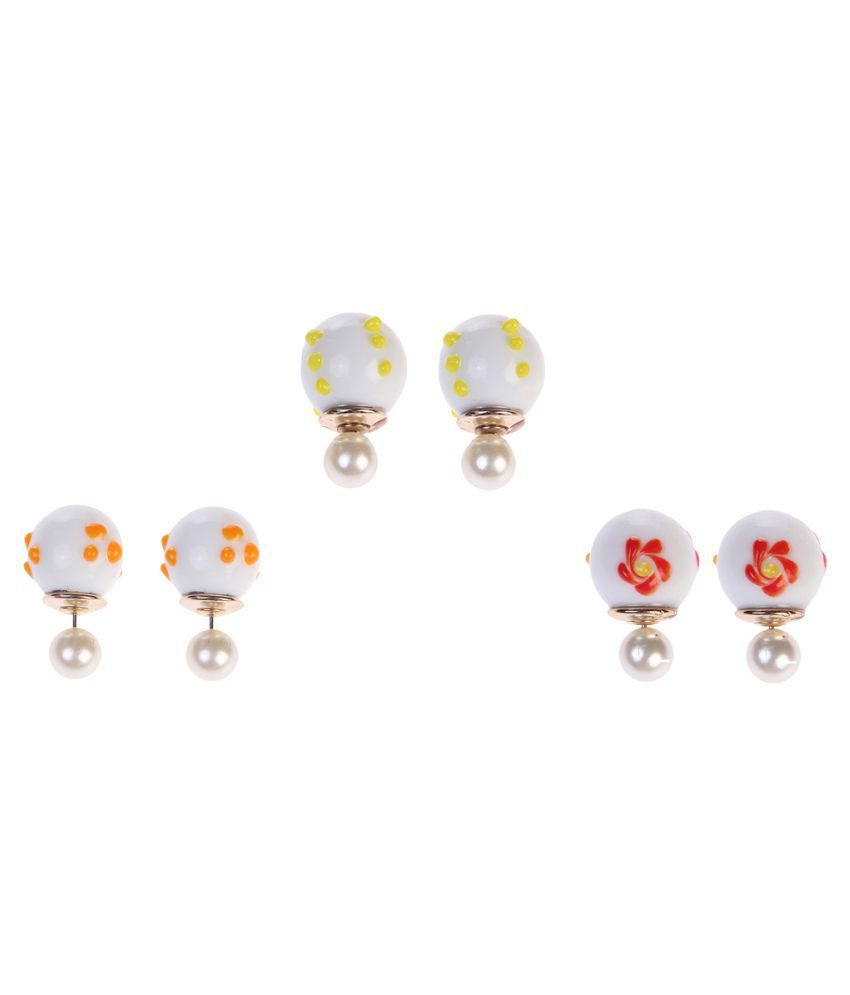 Chkokko Multicolour Stud Earrings - Set of 3
