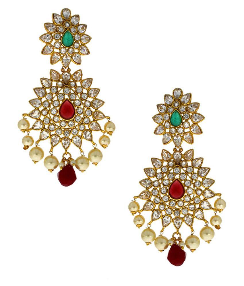 Anuradha Art Cubiz Zirconia Studded Multicolor Earrings