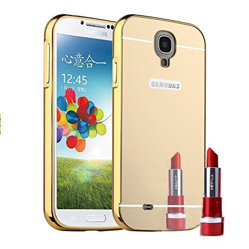 Aart Luxury Metal Bumper + Acrylic Mirror Back Cover Case For Samsung S3 Gold + Flexible Portable Thumb OK Stand