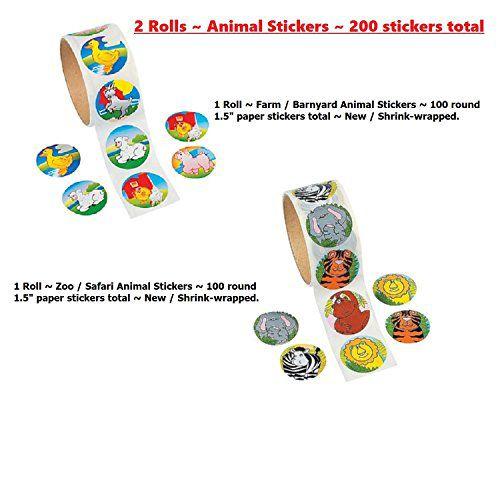 200 Animal Stickers 100 Zoo Jungle Animals 100 Farm Animal Barnyard Two  Rolls Teachers Party Craft