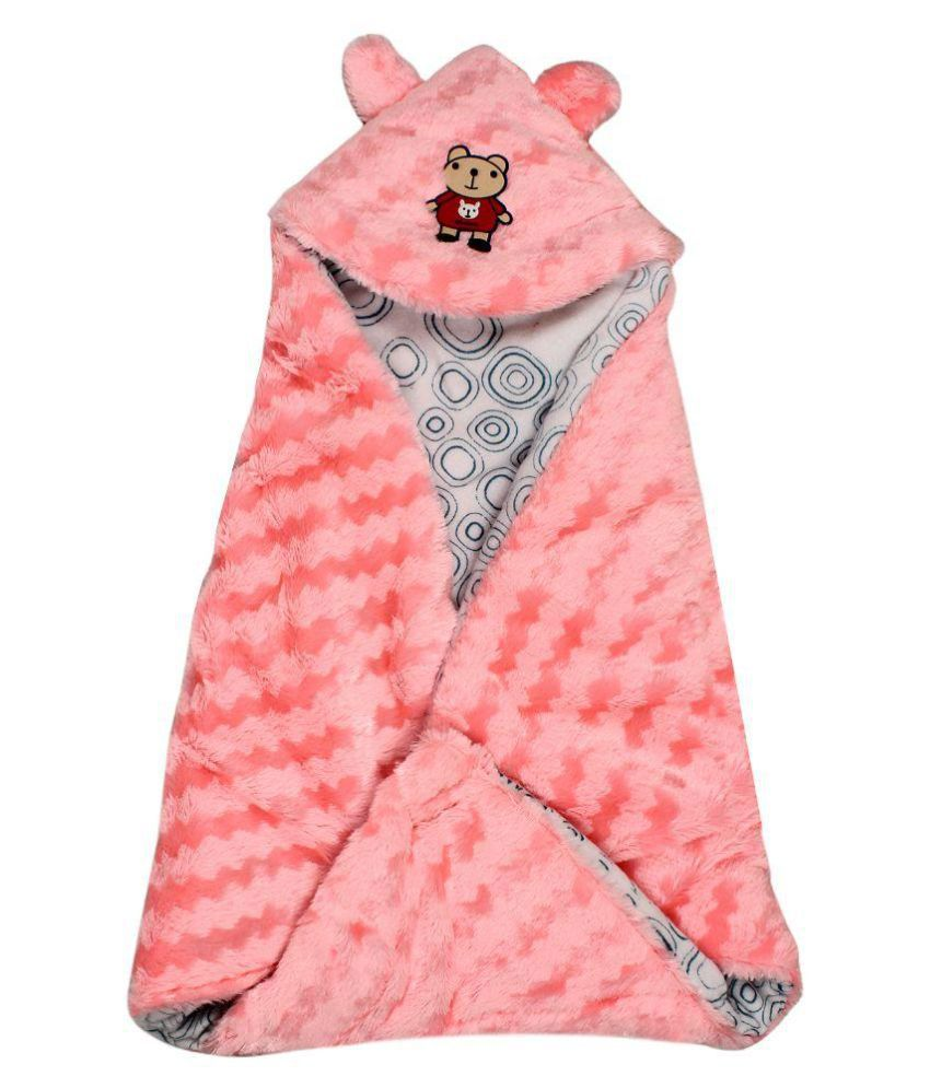Amazinghind Pink Cotton Hooded Baby Wrapper