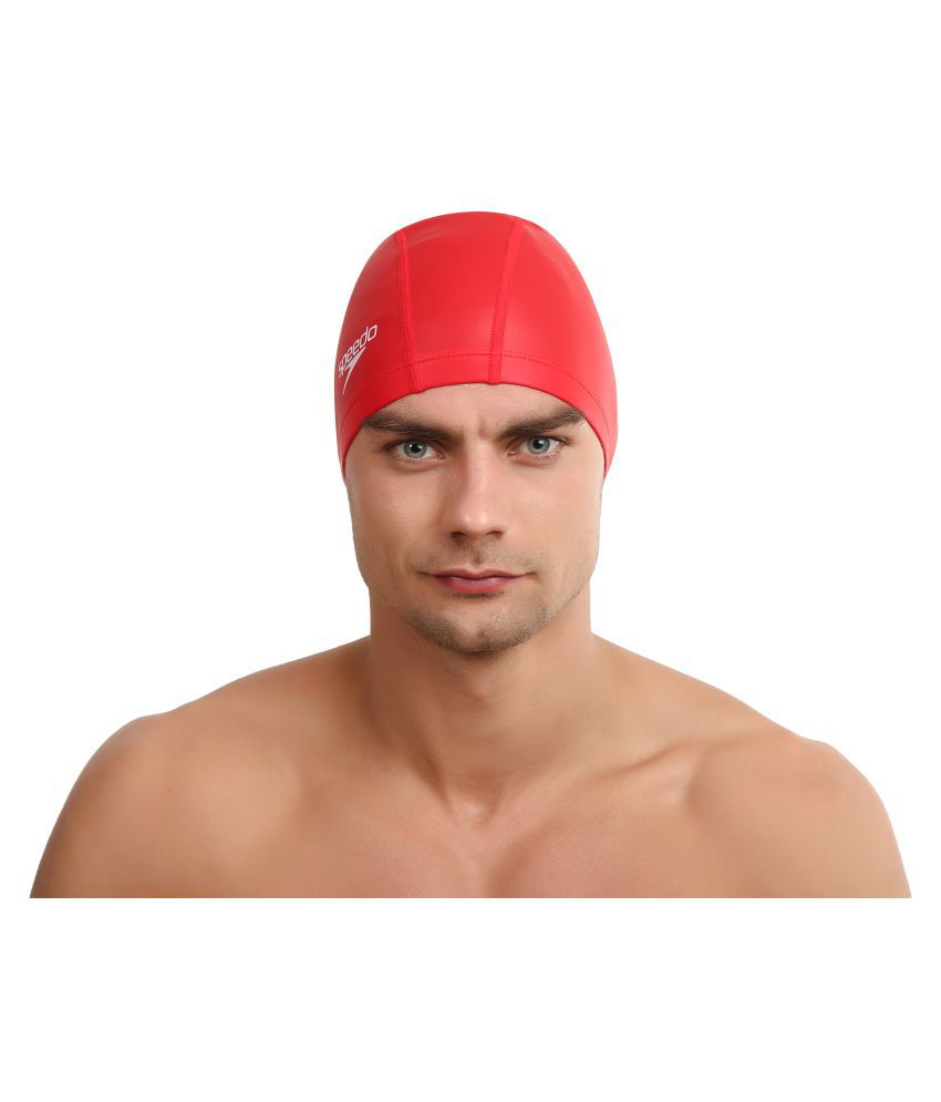 Speedo Adult Red Silicone Swimming Cap L