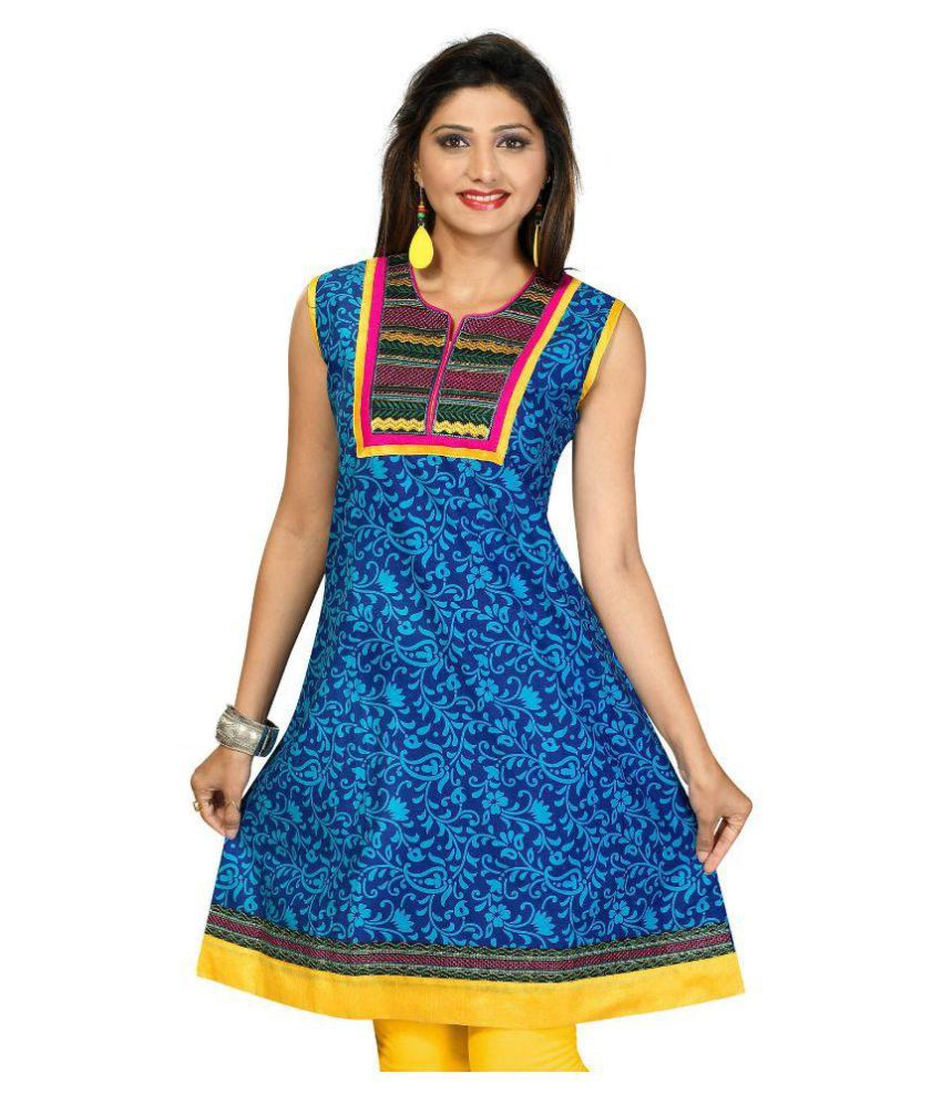 V's Fashion Point Blue Cotton A-line Kurti