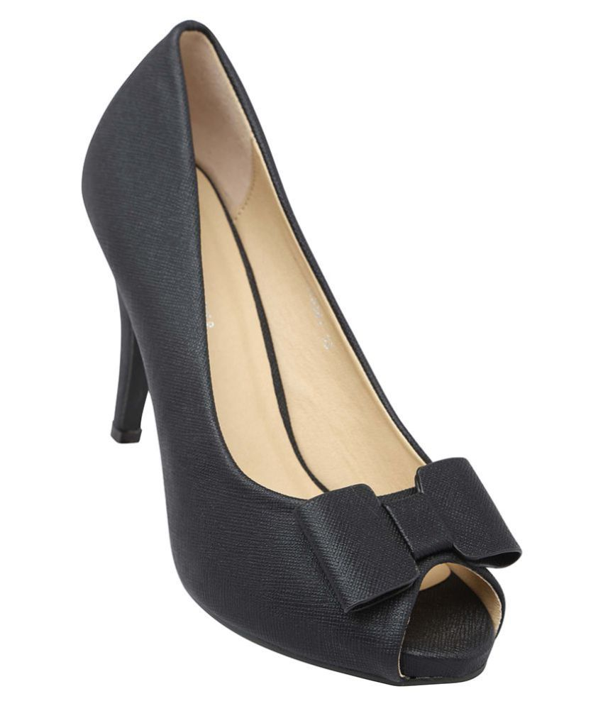 Lemon & Pepper Black Stiletto Heels