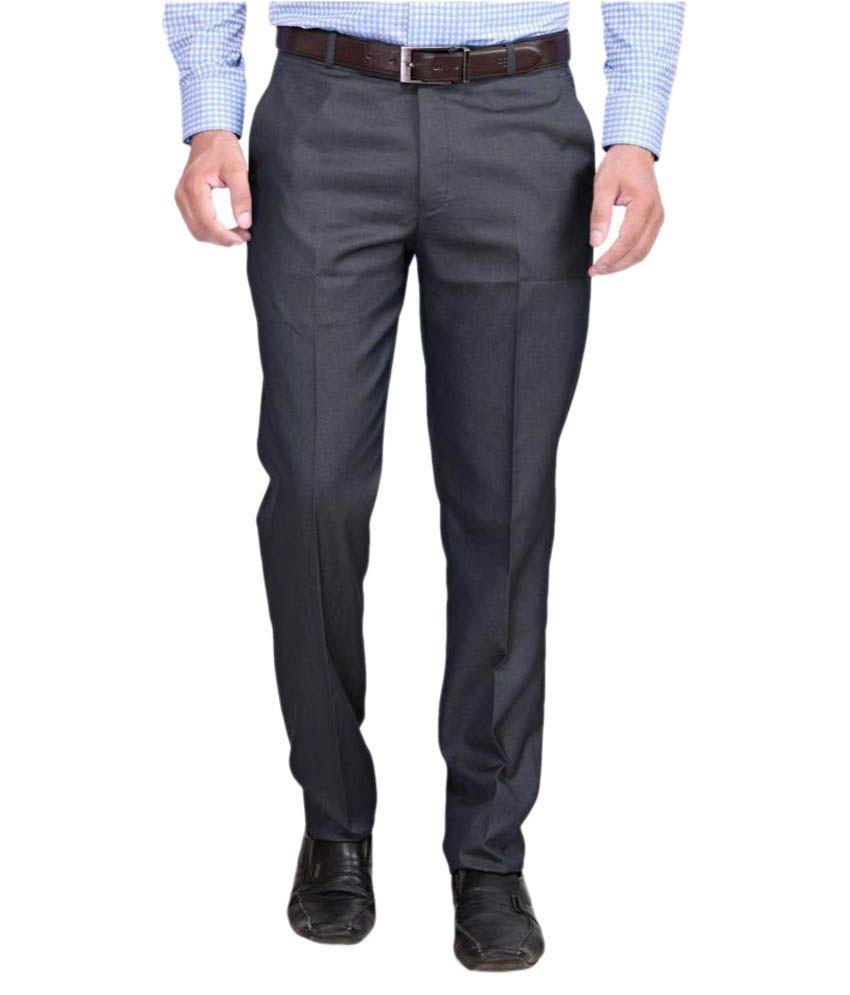 RG Designers Grey Regular Flat Trouser