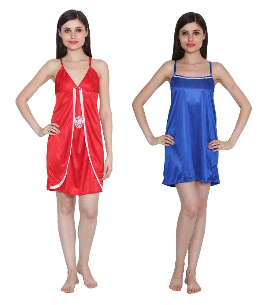 Ansh Fashion Wear Multi Color Poly Satin Nighty & Night Gowns